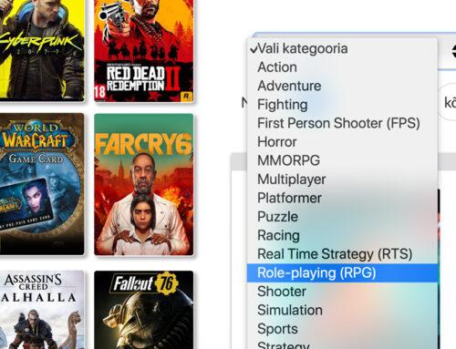 Nüüd saad punktid.ee e-poes mänge kategooriate alusel sorteerida