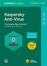 Kaspersky Anti-Virus 2018 (3 Kasutajat, 1 Aasta)