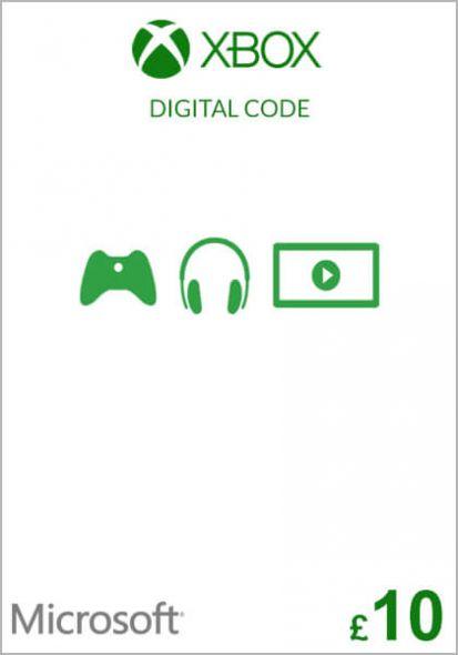 UK Xbox 10 Nael Kinkekaart (Xbox One & 360)