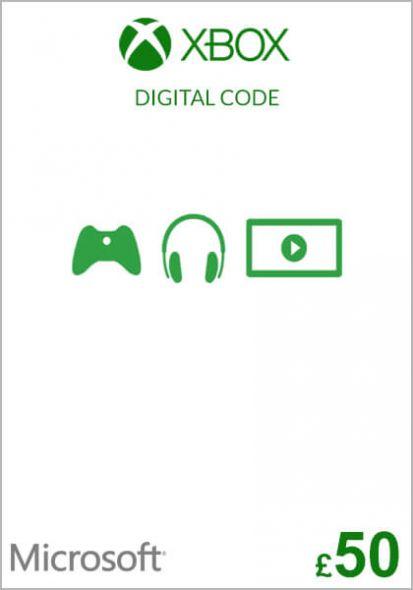 UK Xbox 50 Nael Kinkekaart (Xbox One & 360)