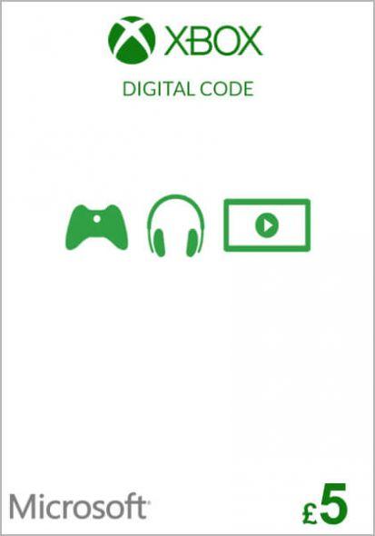UK Xbox 5 Nael Kinkekaart (Xbox One & 360)