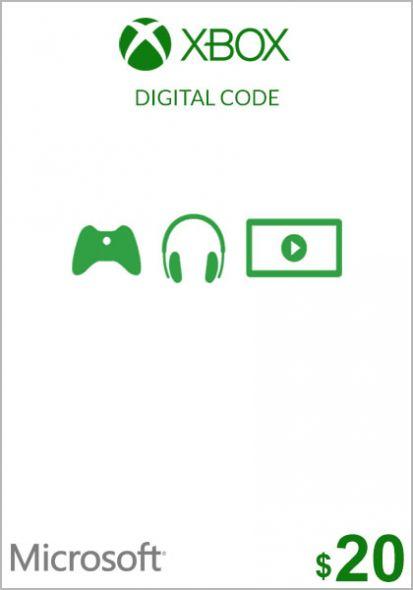 USA Xbox 20 Dollar Kinkekaart (Xbox One & 360)