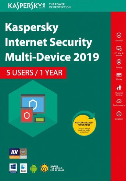Kaspersky Internet Security Multi-Device 2019 (5 Kasutajat , 1 Aasta)