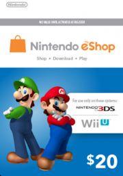 USA Nintendo 20 Dollar eShop Kinkekaart